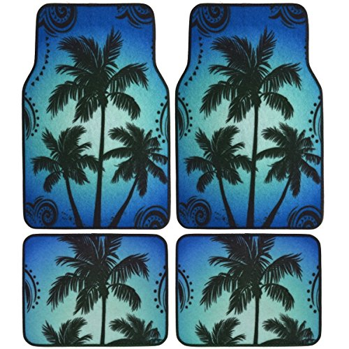 BDK Palm Tree California Carpet Floor Mats for Car SUV - 4 Piece Set, Blue, Licensed Prodcuts, Secure Backing (Disney Car Floor Mats compare prices)