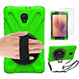 Gzerma Samsung Galaxy Tab A 8.0 Case 2017 SM-T380 8 Inch Tablet (Not for T387), Kids Proof with Hand Strap, Kickstand, Screen Protector, Heavy Duty Rugged Bumper with Silicone Cover (Green 1) (Color: Glass Green)