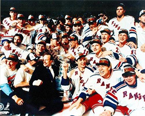 Autograph Warehouse 89867 1994 New York Rangers 8 x 10 Photo Stanley Cup Champions Mike Richter Mark Messier Adam Graves