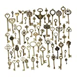 KING DO WAY 69pcs Antique Bronze Vintage Skeleton Keys Charm Set DIY Handmade Accessories Necklace Pendants Jewelry Making Supplies for Wedding Decoration Birthday and Christmas Party (Tamaño: 69PCS)