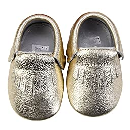Unique Baby Unisex Leather Baby Moccasins Neutral Colors S (5.1 inches) Gold