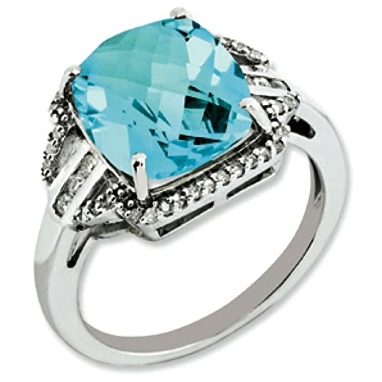 Sterling Silver Blue Topaz and Rough Diamond Ring - Ring Size Options Range: J to T