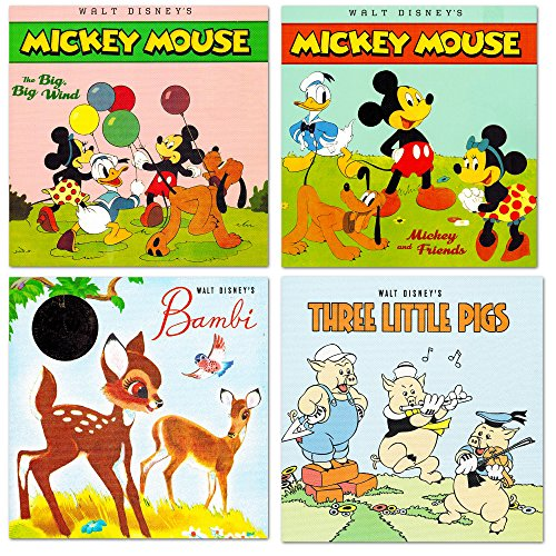 Disney-My-First-Books-Set-of-4-Baby-Toddler-Storybooks-Vintage-Disney-Classic-Storybook-Collection-Featuring-Mickey-Mouse-Minnie-Mouse-Bambi-and-the-Three-Little-Pigs