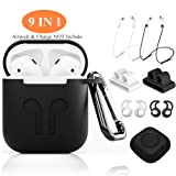 AirPods Case Cover,ZROSIN 9 in 1 Case Airpods Accessories Kits Protective Silicone Skin Compatible Apple Earpods Airpods Watch Band Holder/Ear Hook/Anti-Lost Stap/Clip /Keychain/Grip-Black (Color: Airpods Case Black)