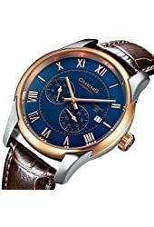 Chens Men's Automatic 18K Gold Stainless Steel Multifuctional Blue Dial Brown Leather Watch