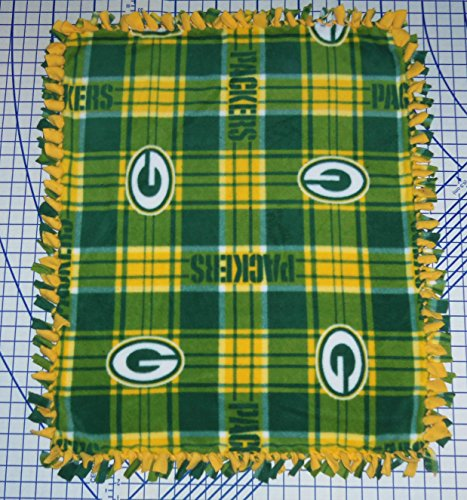 Green Bay Packers Tied Fleece Baby Pet Dog Blanket Nfl Football (Plaid) front-962689