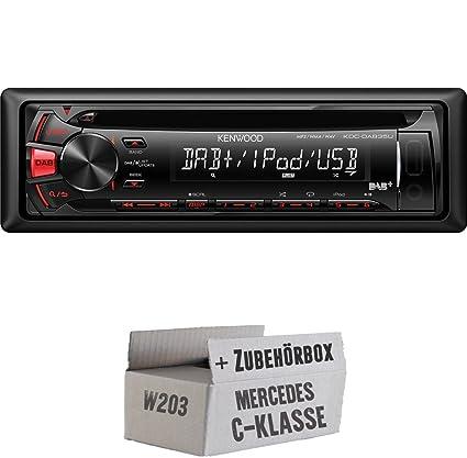 Mercedes C-Klasse W203 - Kenwood KDC-DAB35U - CD/MP3/USB Autoradio inkl. DAB - Einbauset