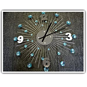 Stainless Steel Sunburst Crystal Wall Clock With Diamantes