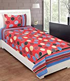 Exporthub Beautiful 100% Cotton Red Multi Golla Design Single Bed Bedsheet With 1 Pillows Covers, (EHBS073)