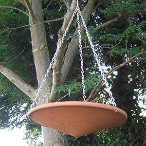 Terracotta Hanging Bird Bath Patio Lawn