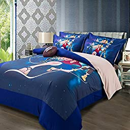 MeMoreCool Japanese Anime One Piece Bedding Sets Kids Clubhouse Super Soft 4 Piece Queen Size in Classic Design Bedding Set - Duvet Cover, Flat Sheet & Pillow Cases