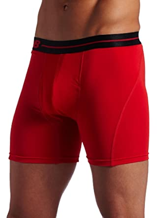New Balance Men's Performance Underwear 6 Inch Inseam Boxer Brief, Formula One Red, Small