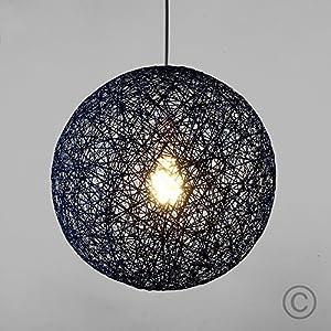 Modern Small Blue Lattice Wicker Rattan Globe Ball Style Ceiling Pendant Light Lampshade from MiniSun