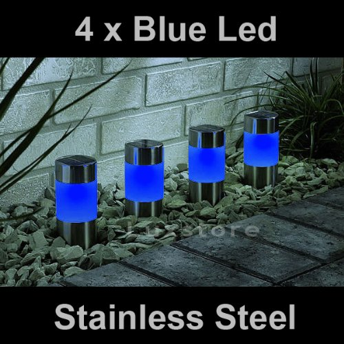 4 x Blue Solar Led Light Garden Path Marker Mini Bollard Patio Deck Decking- Stainless Steel - Mini Bollard