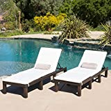 Estrella Outdoor PE Wicker Adjustable Chaise Lounge Chairs w/ Cushions (Set of 2)