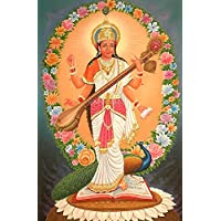 Exotic India Four-Armed Standing Saraswati With Multi-color Flowers Aureole - Oil On Canvas