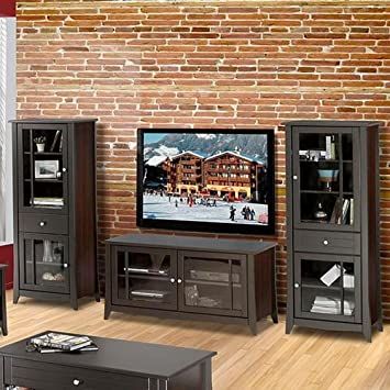 Elegance Entertainment Center Small TV Stand with Audio Cabinets