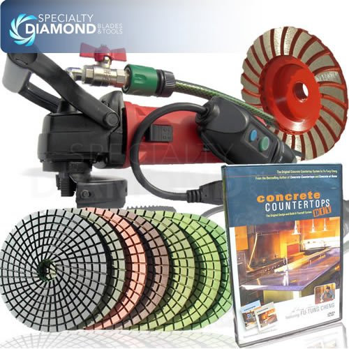 Secco CCGRINPOLSET 5-Inch Variable Speed Concrete Wet Polishing and Grinding Kit, Includes Fu-Tung DIY DVD