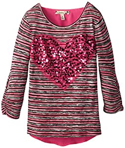 Speechless Big Girls' Sweater with Chiffon Back, Fuchsia, Medium