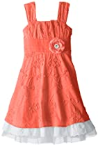 My Michelle Girls 7-16 Lace Dress with Eyelet Underlay, Coral, 10