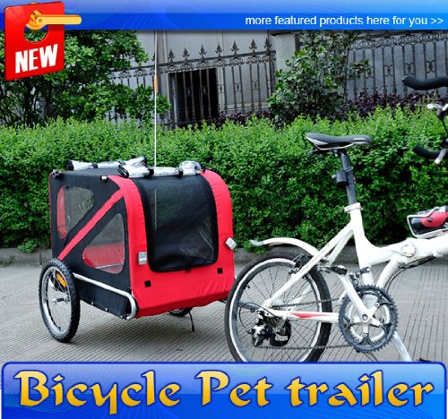 Frugah Large Portable Pet Dog Bicycle Bike Trailer Folding Carrier Red Black