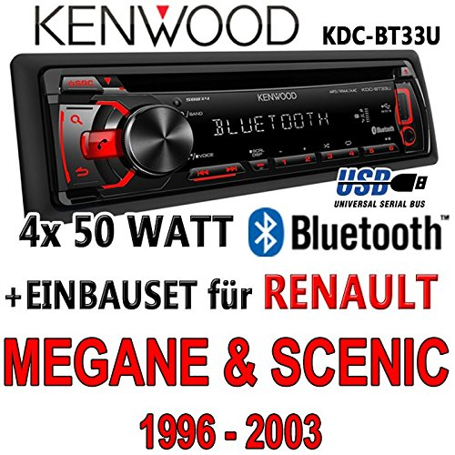 Renault megane scenic 1 & kenwood kDC-bT33U-bluetooth cD/mP3/uSB avec kit de montage
