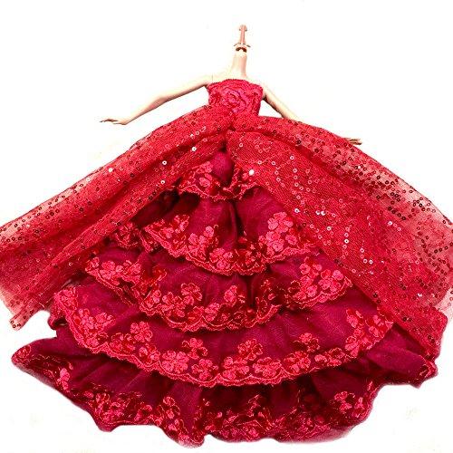WayIn-El-vestido-rojo-ms-increble-con-Lentejuelas-Diseado-para-adaptarse-a-la-mueca-Barbie