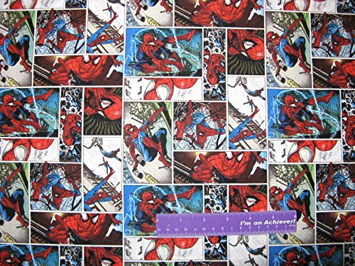 Marvel SPIDERMAN Super Hero Comic Scen Spider Man Cotton Fabric BY THE HALF YARD (Sewing Fabric For Men compare prices)