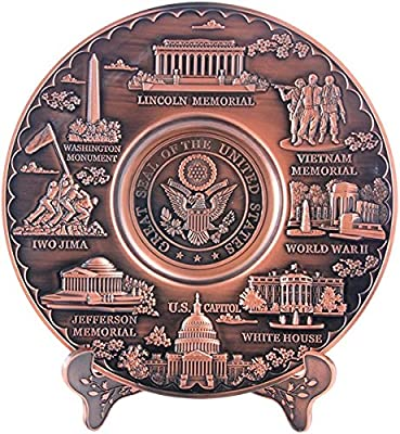 Copper Toned Washington D.C. Metal Souvenir Plate with Stand