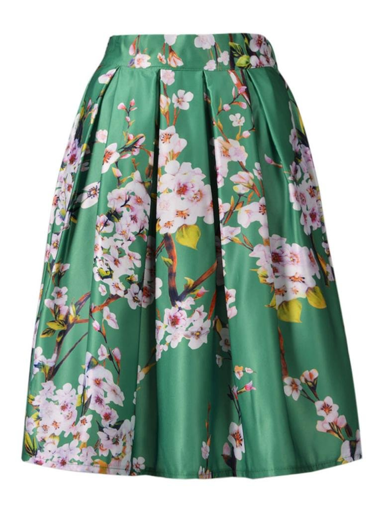 Choies Women's Black/Green/White/Blue Sakura Skater Skirt With Pleat 0