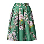 Choies Women's Black/Green/White/Blue Sakura Skater Skirt With Pleat