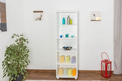 Shelf solid pine wood, in a white paint finish Junco 50C - Dimensions 195 x 60 x 42 cm