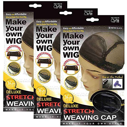 (3 Pack) Qfitt - Deluxe Stretch Weaving Cap #5018 (Adjustable Wig Cap compare prices)