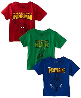 Fruit of The Loom Little Boys' Funpals 3 Pack Marvel Heroes Crew Shirt, Assorted, 6