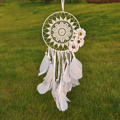Ricdecor Dream catcher handmade traditional white feather dream catcher wall hanging car hanging decoration ornament Dia 5.9