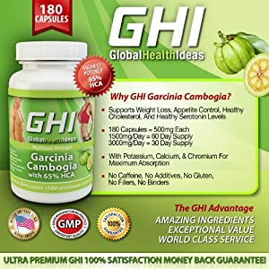 GHI #1 Garcinia Cambogia Extract 65% HCA Maximum Strength, 180 Veggie Caps, 500 mg per capsule, 3,000mg Daily Dosage, Full 30-day Supply - (Three Daily Servings of 1000mg) by GHI Global Health Ideas