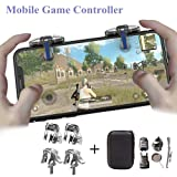 PUBG Mobile Game Controller [4 Triggers+5 Keychains] - Aovon Sensitive Shoot and Aim Joysticks Physical Buttons for PUBG/Fortnite/ Knives Out/Rules of Survival, Gift for Kids and Players