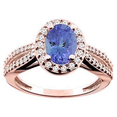14ct Rose Gold Natural Tanzanite Ring Oval 8x6mm Diamond Accent 7/16 inch wide, size O