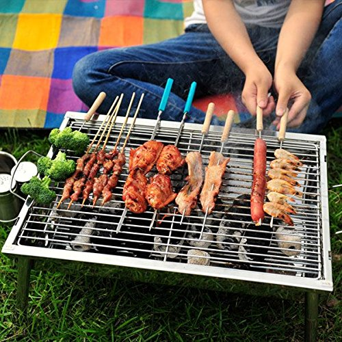 Shop24Hrs Portable Thickened Outdoor Picnic And Home Charcoal BBQ Grill Stainless Steel Folding Grill (Stovetop 4 Burner Griddle compare prices)