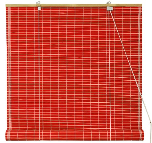 Oriental Furniture Bamboo Roll Up Blinds, Red, Clearance