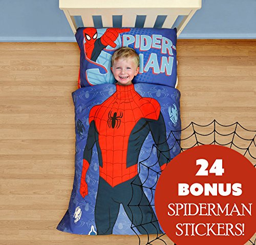 Marvel Spiderman Toddler Bedding and Wall Sticker Set Superhero Comforter Sheets and Wall Decals