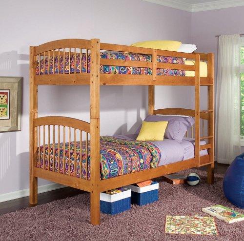 Oak Finish Twin & Twin size Bunk Bed Kids Bedroom Furniture