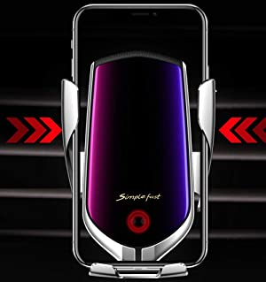 TopWan Wireless Charger Car Touch Sensing Automatic Retractable Clip 10W Fast Charging Compatible for iPhone Xs Max//XR//X//8//8Plus Samsung S9//S8//Note 8 Silver