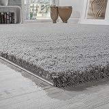 Shaggy Teppich Micro Polyester Wohnzimmer Teppiche Elegant Hochflor Grau
