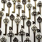 Mixed Set of 30 Large Skeleton Keys in Antique Bronze - Set of 30 Keys