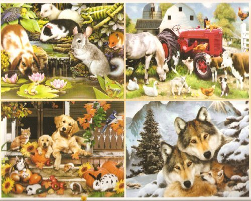 Harmony Collection – Four 500 Piece Jigsaw Puzzles by Artist Howard Robinson Including – Poolside Pets, Meadow Farm, Autumn on the Porch and Wolf Harmony by Ceaco jetzt bestellen