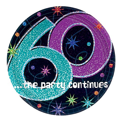 Amscan BB55981 The Party Continues 60Th Birthday Dinner Plates