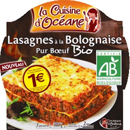 La Cuisine d'Océane - Lasagnes à la bolognaise pur boeuf, bio - L'assiette de 300g - (pour la quantité plus que 1 nous vous remboursons le port supplémentaire)