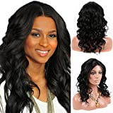 Doubleleafwig Natural Black Color Middle U Parting Brazilian Virgin Remy Human Hair Glueless Lace Front Wigs