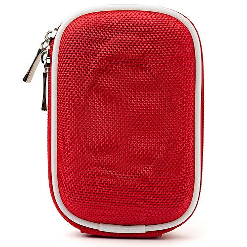 Protective Slim Eva Carrying Hard-Shell Case (Red Nylon) For Canon Powershot Elph 300 310 320 330 340 500 510 520 530 Hs + Determination Hand Strap